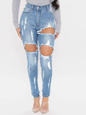 shestar wholesale high rise ripped distressed fitted jeans