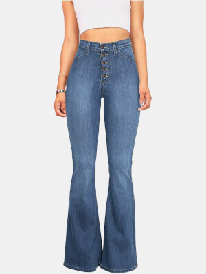 shestar wholesale high waist classic buttoned flared jeans