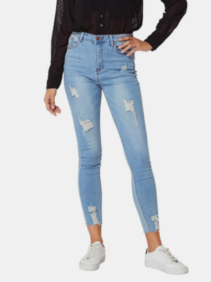 shestar wholesale high waist ripped fitted cropped jeans