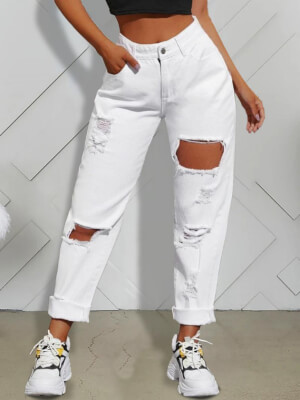 shestar wholesale street style fringe trim cutout ripped distressed jeans