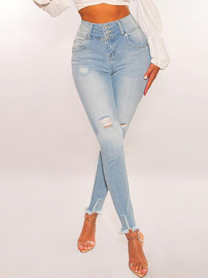 shestar wholesale high waist fringe hem ripped skinny jeans