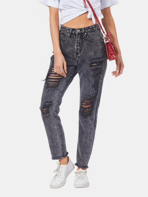 shestar wholesale street style straight leg ripped jeans